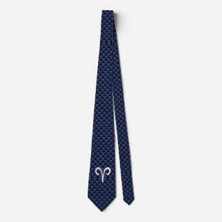 Aries Zodiac Sign on Navy Blue Carbon Fiber Print Tie