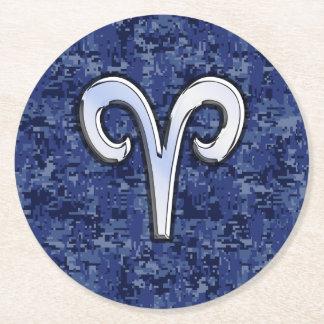 Aries Zodiac Sign on Navy Blue Digital Camo Round Paper Coaster