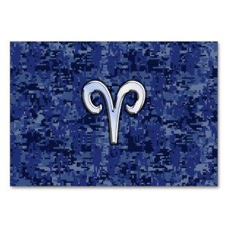 Aries Zodiac Sign on Navy Blue Digital Camo Table Card