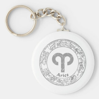 Aries Zodiac sign vintage Basic Round Button Key Ring