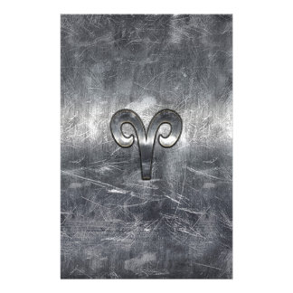 Aries Zodiac Symbol in Silver Distressed Style 14 Cm X 21.5 Cm Flyer