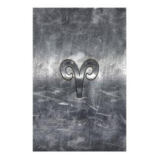 Aries Zodiac Symbol in Silver Distressed Style 14 Cm X 21.5 Cm Flyer