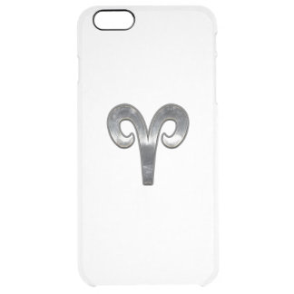 Aries Zodiac Symbol in Silver Distressed Style iPhone 6 Plus Case
