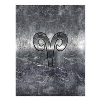 Aries Zodiac Symbol in Silver Steel Style Postcard