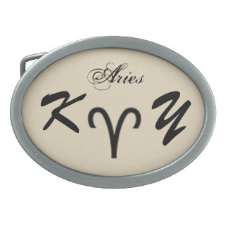 Aries Zodiac Symbol Standard by Kenneth Yoncich Oval Belt Buckles