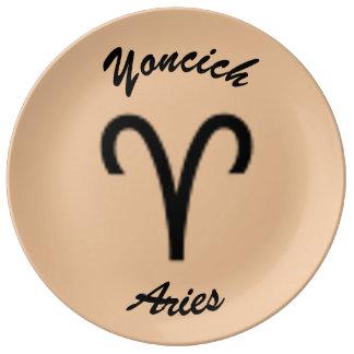 Aries Zodiac Symbol Standard by Kenneth Yoncich Plate