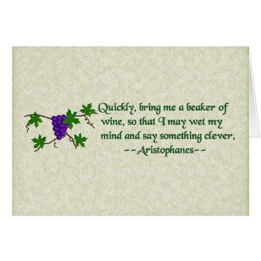 Aristophanes Wine Quote Card