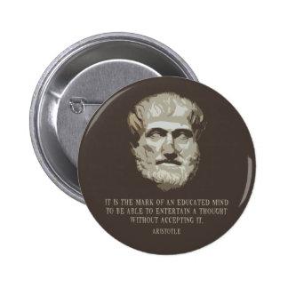 Aristotle Educated Mind 6 Cm Round Badge