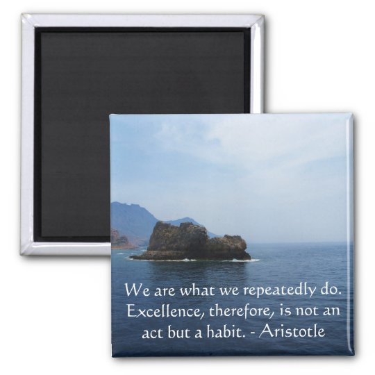 Aristotle Excellence Quotation Square Magnet