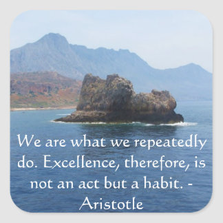 Aristotle Excellence Quotation Square Sticker