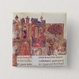 Aristotle instructs Alexander the Great in 15 Cm Square Badge