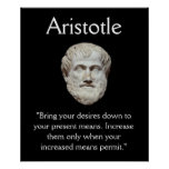 Aristotle - Self Control and Money Quote Poster