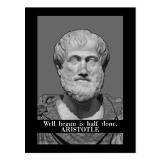 Aristotle 'We begun' motivational quote postcard
