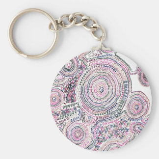 Arithmetic Mandara where the cat is Basic Round Button Key Ring