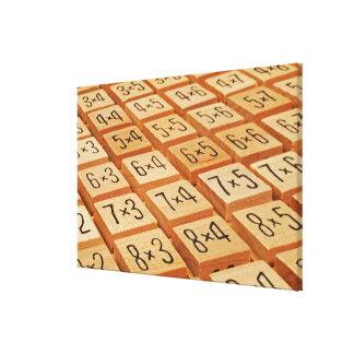 Arithmetic. Multiplication times table wooden Canvas Print