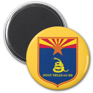 Arizona and Gadsden Flag Shield 6 Cm Round Magnet