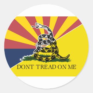 Arizona and Gadsden Flag Round Sticker
