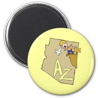 Arizona AZ Map & Grand Canyon Cartoon Art Motto 6 Cm Round Magnet