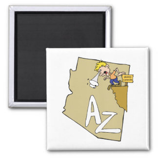 Arizona AZ Map & Grand Canyon Cartoon Art Motto Square Magnet