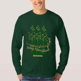 Arizona Cactus Christmas Feliz Navidad Green LS T Shirts