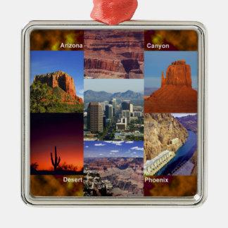 Arizona Desert Collage Silver-Colored Square Decoration