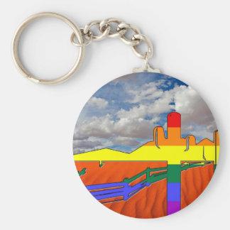 Arizona Desert GLBT Pride Basic Round Button Key Ring