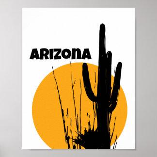 Arizona - Desert Plant Silhouette - Poster