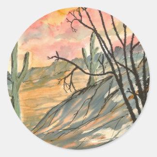 arizona evening southwestern landscape art round sticker