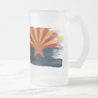 Arizona Flag Frosted Glass Beer Mug