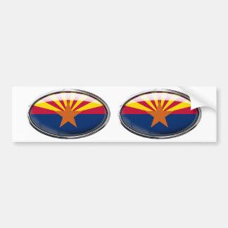 Arizona Flag Glass Oval Bumper Sticker