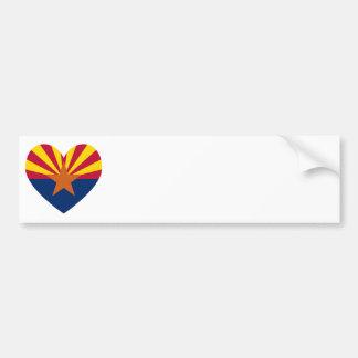 Arizona Flag Heart Shape Bumper Sticker