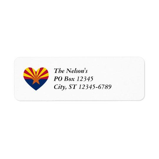 Arizona Flag Heart Shape Return Address Label