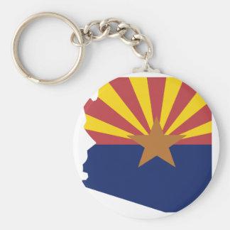 Arizona Flag Map Basic Round Button Key Ring