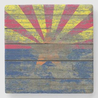 Arizona Flag on Rough Wood Boards Effect Stone Coaster