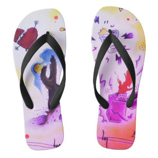 arizona flash tattoo unisex flip flops