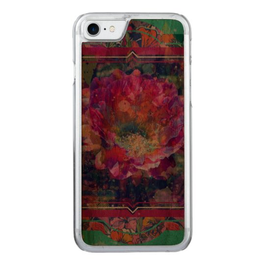 Arizona Flower iPhone wood case, graphic flower Carved