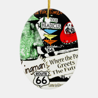 Arizona Fun-Time 1950s style Alien UFO Route 66 Christmas Ornament