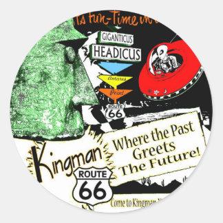 Arizona Fun-Time 1950s style Alien UFO Route 66 Classic Round Sticker