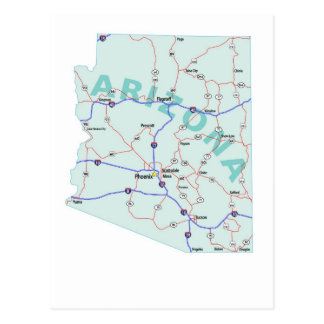 Arizona Interstate Map Postcard