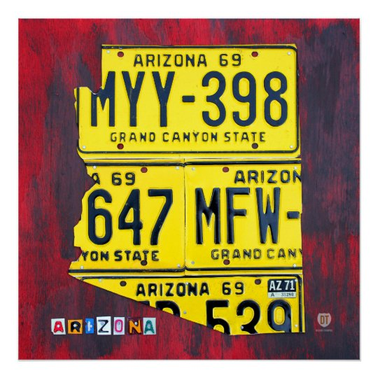 Arizona License Plate Map Poster
