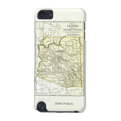 Arizona Map 1891 Towns, Rail, Indian Reservations iPod Touch 5G Case