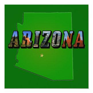 Arizona Map and Picture Text 13 Cm X 13 Cm Square Invitation Card