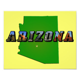 Arizona Map and Picture Text Photo