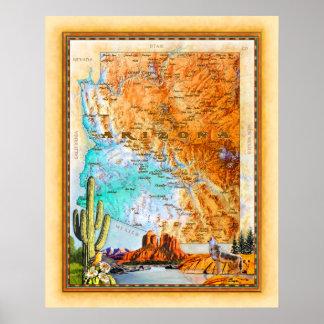"""Arizona Map"" Poster"