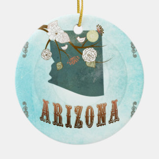 Arizona Map With Lovely Birds Christmas Ornament