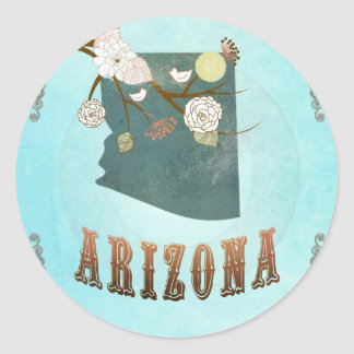 Arizona Map With Lovely Birds Round Stickers