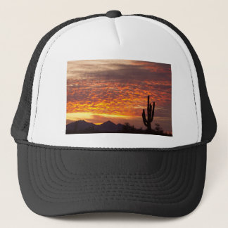 Arizona November Sunrise With Saguaro Trucker Hat