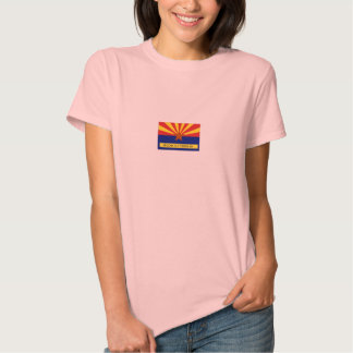 Arizona Old Timers Flag Logo On Pink Baby Doll Shirts