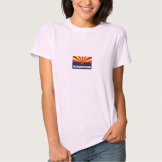 Arizona Old Timers Flag Logo On Pink Baby Doll Shirts