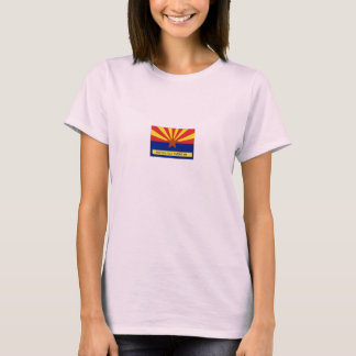 Arizona Old Timers Flag Logo On Pink Baby Doll T-Shirt